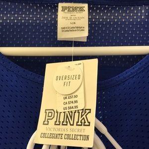 PINK Victoria's Secret Tops - L 💖 PINK Lace-Up Boyfriend Jersey Tee KU Jayhawks